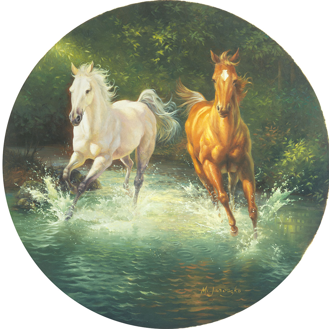 illustration-Animals and Nature_Horses through water