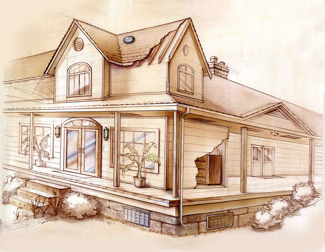 illustration-Architecture_Sepia house-Bonnie Hofkin