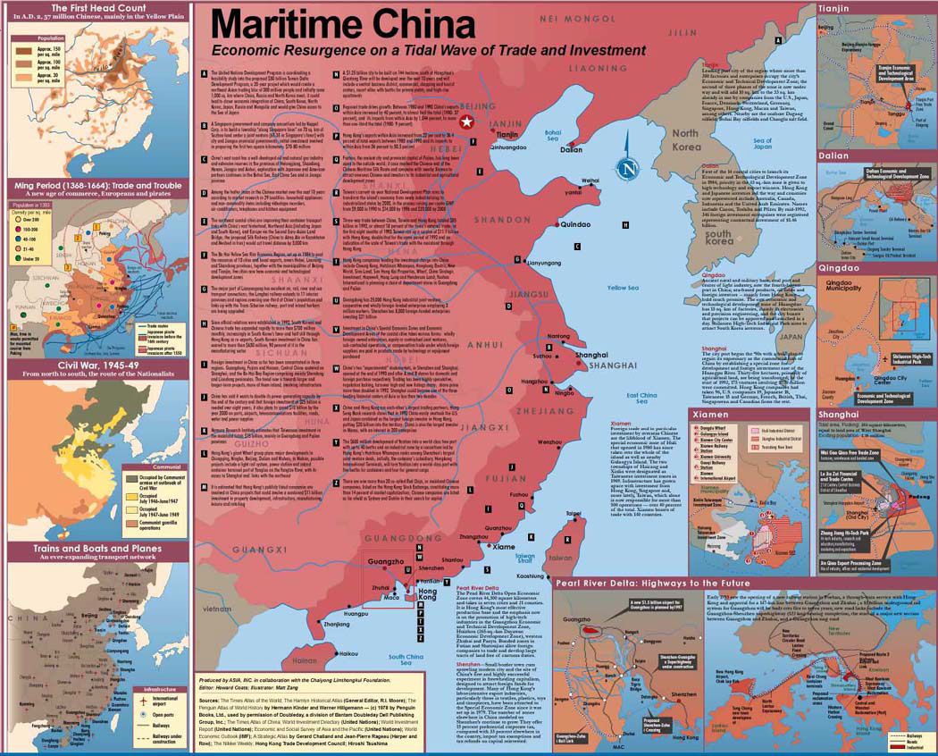 illustration-Architecture and Maps_Maritime china map and facts-Matt Zang