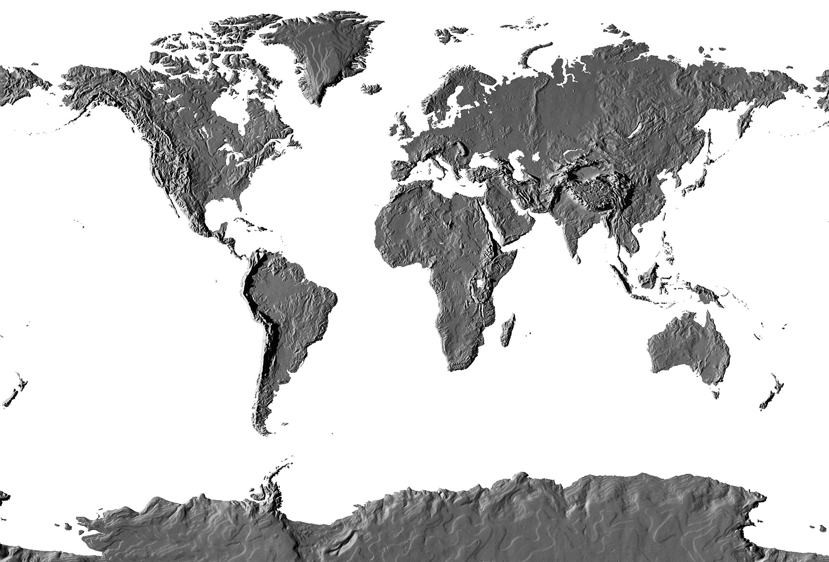 IllustrationArchitecture And MapsMonochrome World Topographic - Topographic map of the world