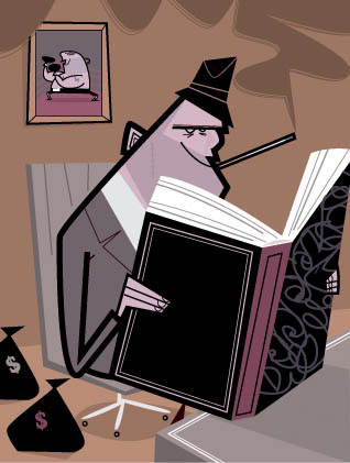 illustration-Cartoon_mobster reading a book-David Semple