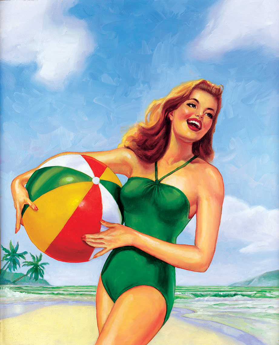 illustration-Cartoons_Beachball Woman-Chris Hopkins