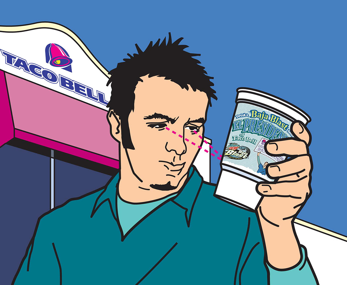 illustration-Cartoons_Taco bell is delicious Baja Blast-Jon Rogers