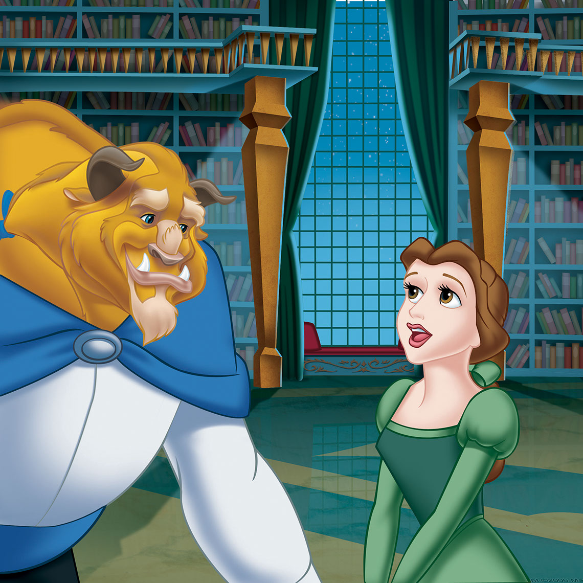 illustration-Cartoons and Characters_Beast and Belle in Library-Shawn McKelvey
