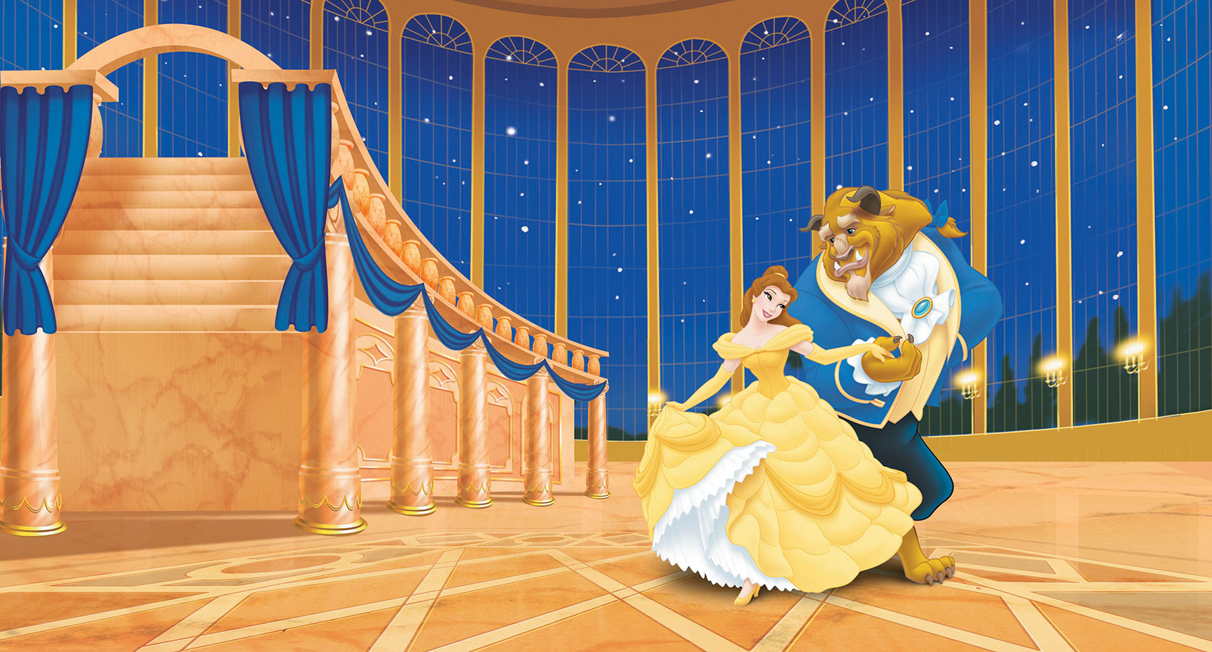 illustration-Cartoons and Characters_Belle and beast in ballroom-Shawn McKelvey