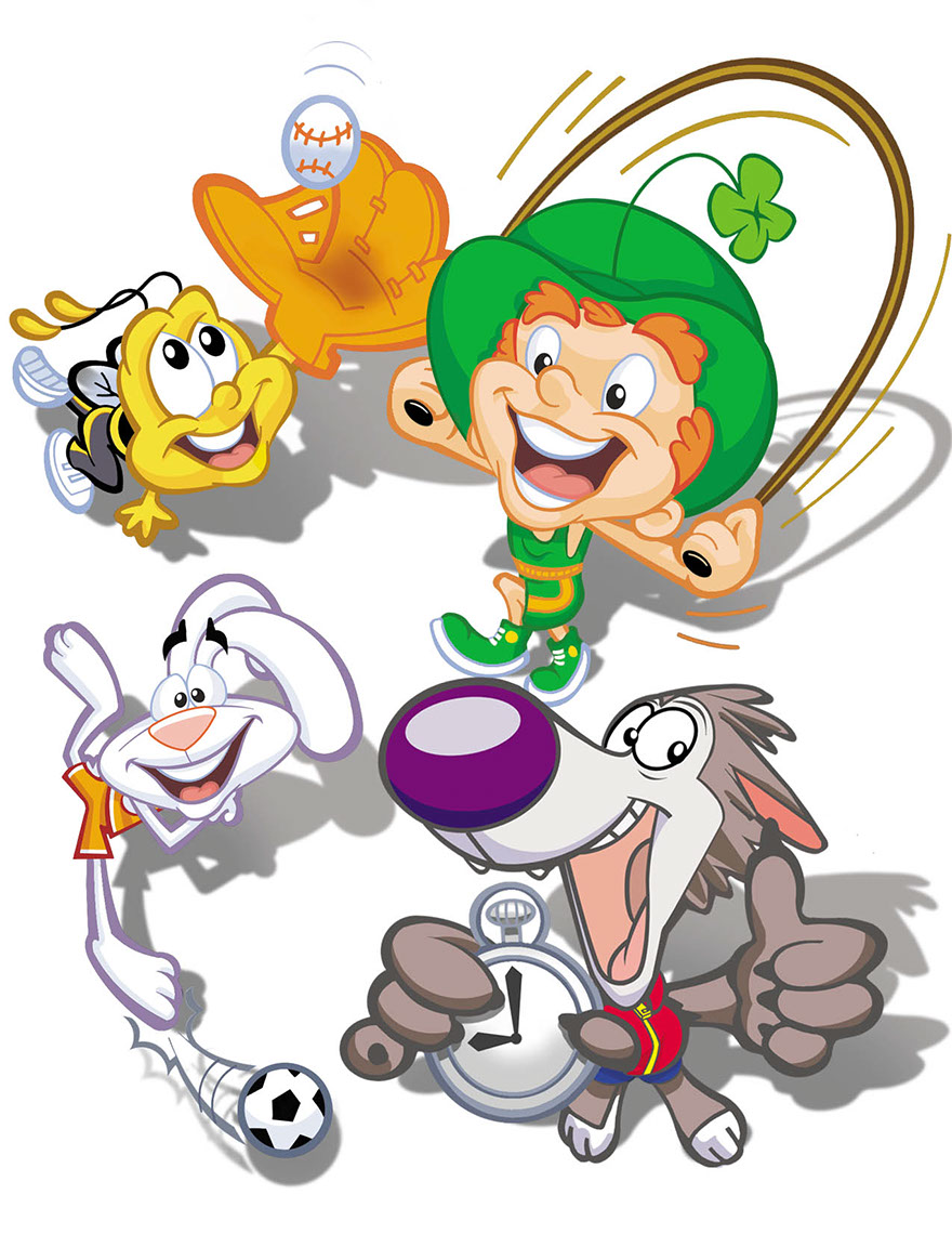 illustration-Cartoons and Characters_Cheerios bee, Lucky Charms leprechaun, Trix rabbit, Cookie Crisp wolf-Impressa