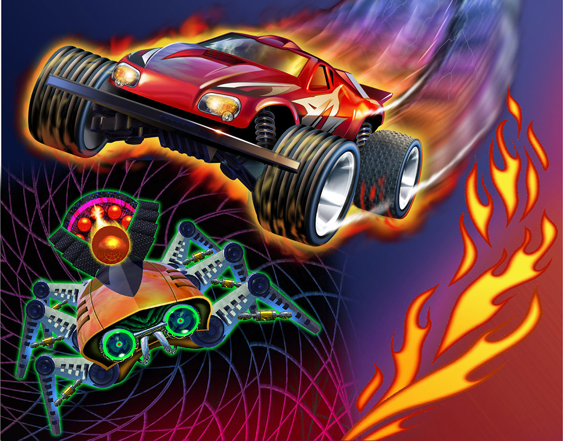 illustration-Cartoons and Characters_Red car jumps robot-Tony Randazzo