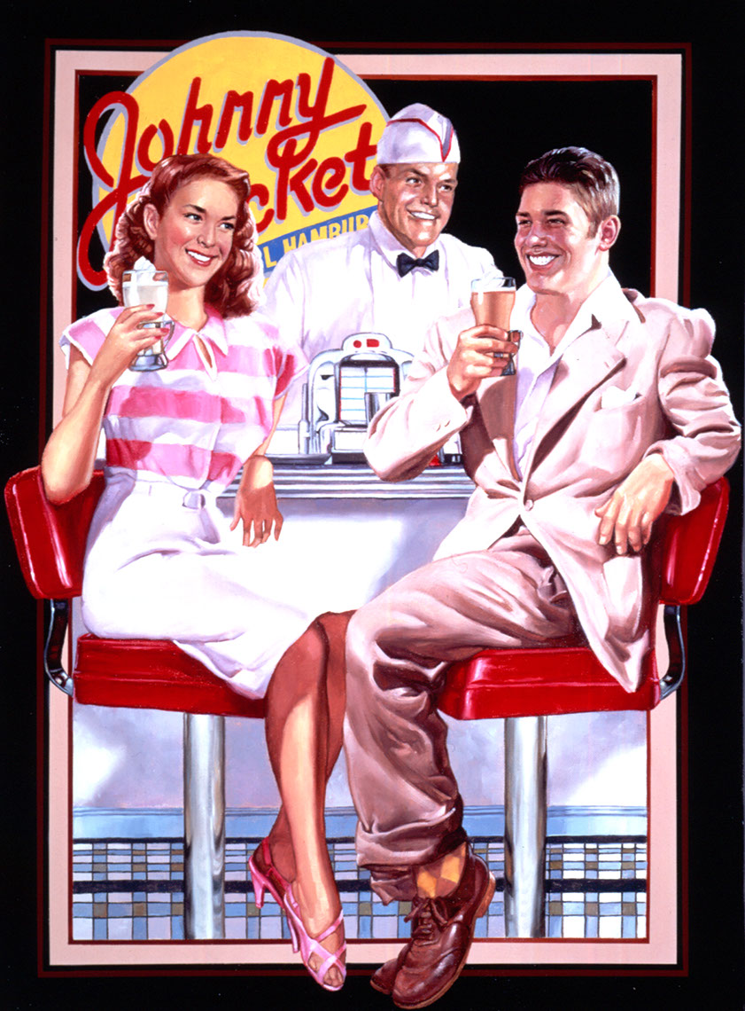 illustration-Characters_People_Johnny Rocket with Waitresses-Chris Hopkins