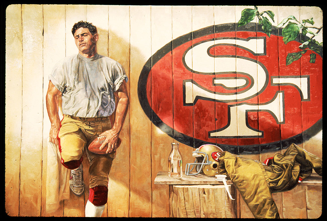 illustration-Characters_Steve Young_Football Player standing alone-Chris Hopkins
