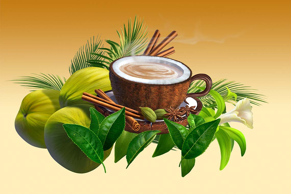 illustration-Coconut teacup with cocoa beans cinnamon mint leaves and vanilla flowers by -Jerry LoFaro