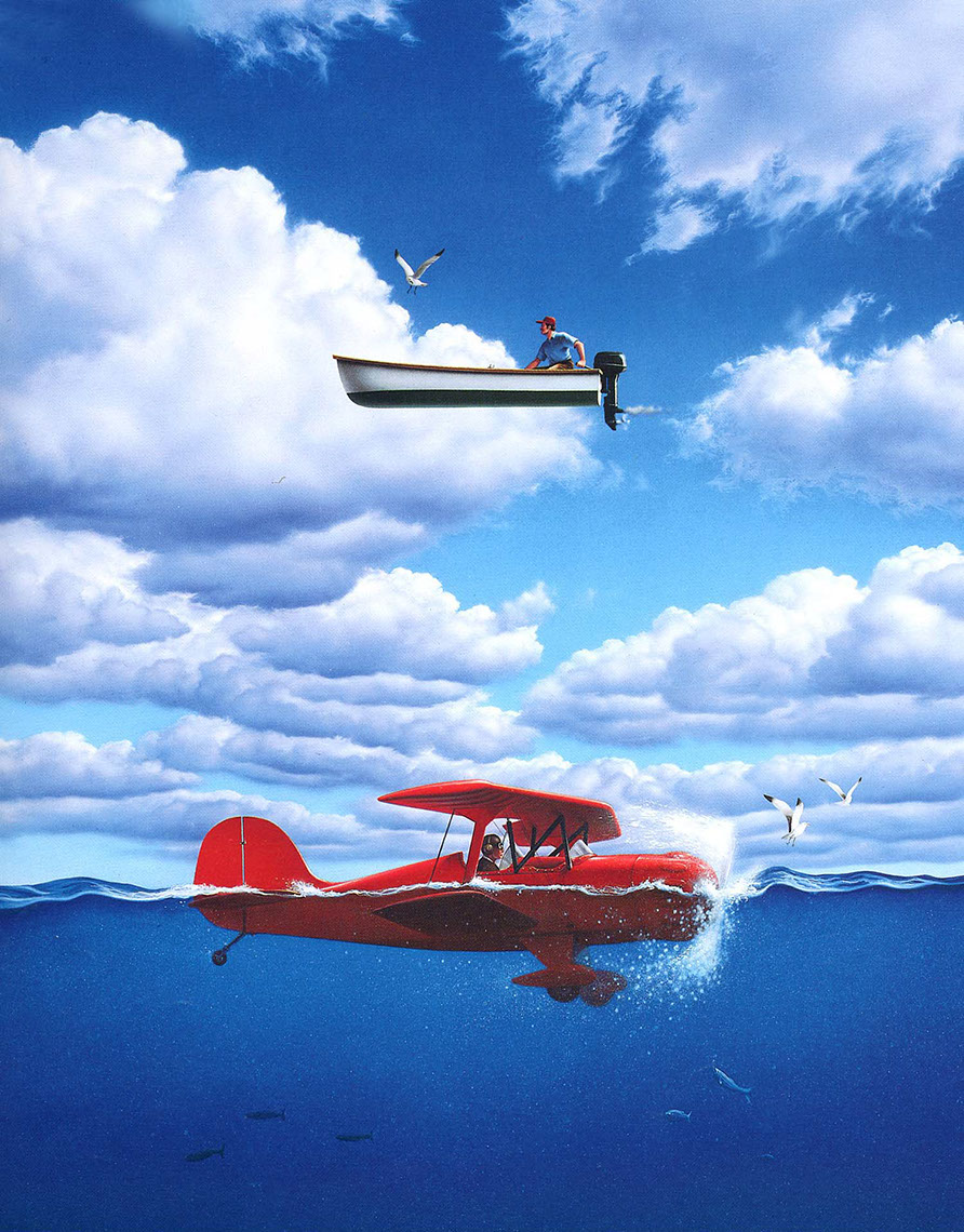illustration-Conceptual_Crasehd plane and boat rescue reversal-Jerry LoFaro