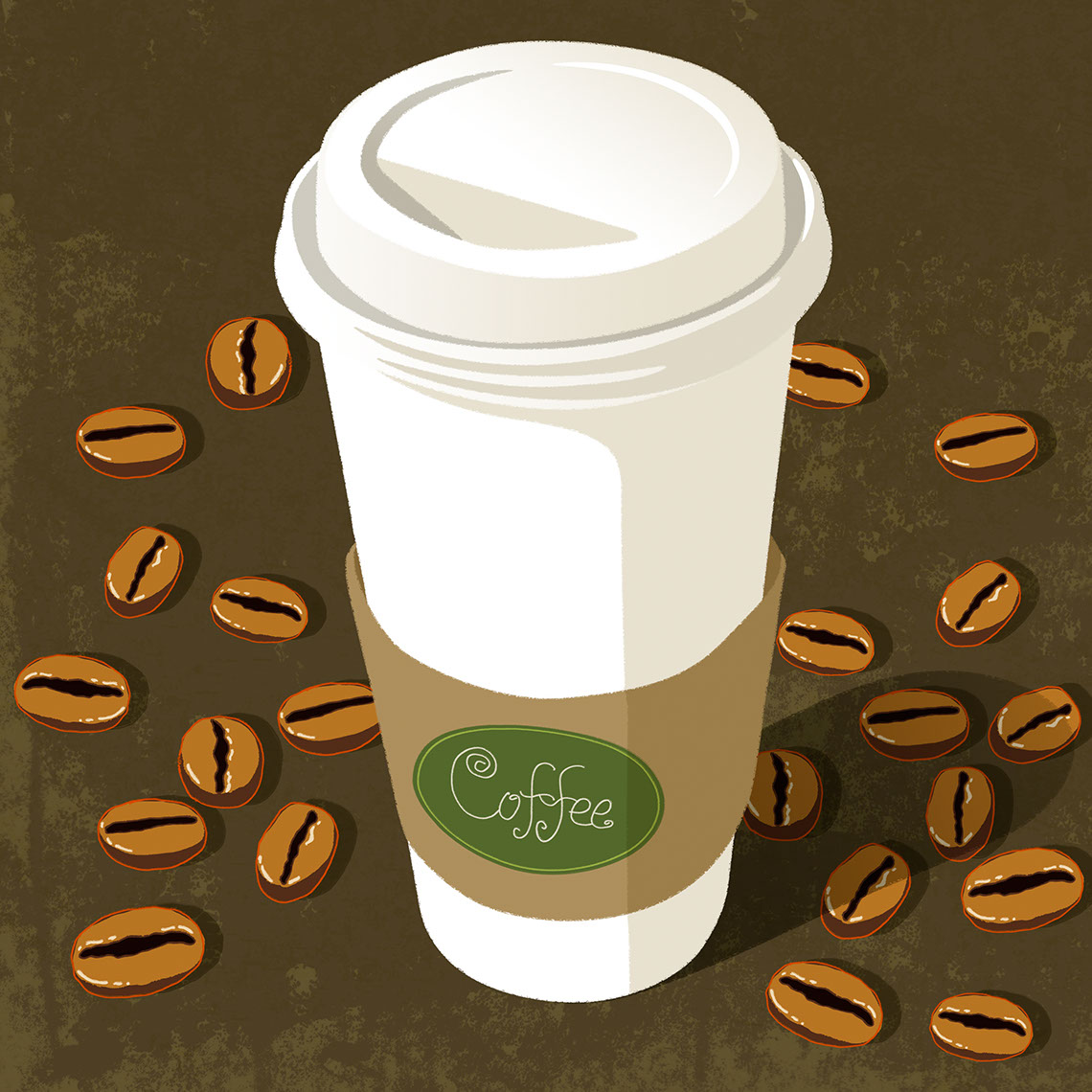 illustration-Food_Coffee cup and beans-Don Bishop