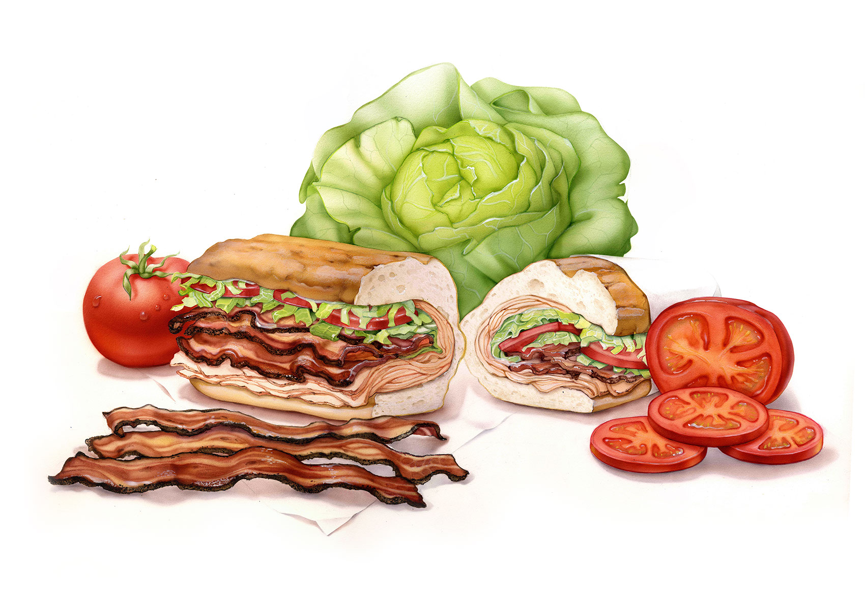 illustration-Food_Quiznos Sandwich-Bonnie Hofkin