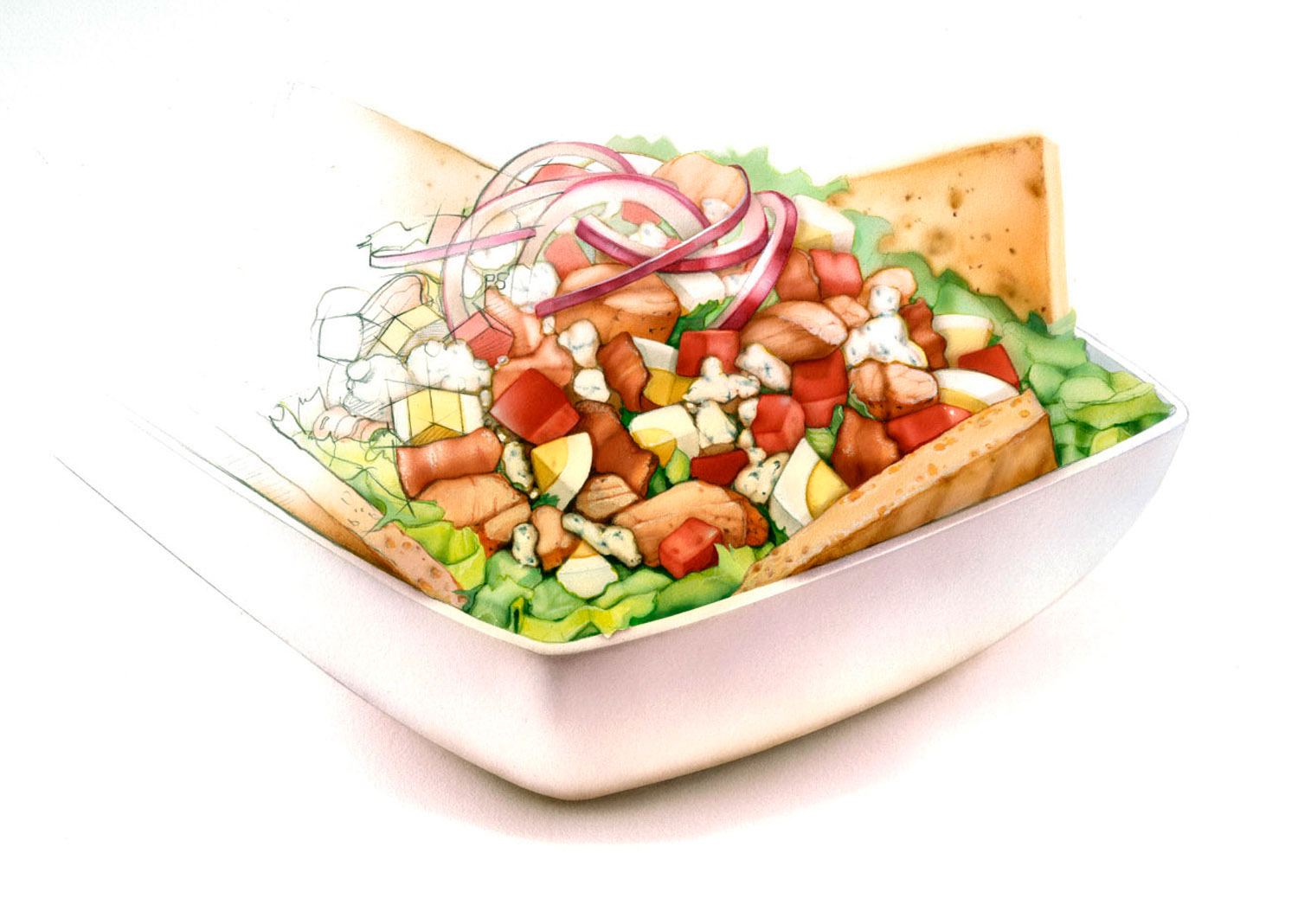illustration-Food_Quiznos salad-Bonnie Hofkin