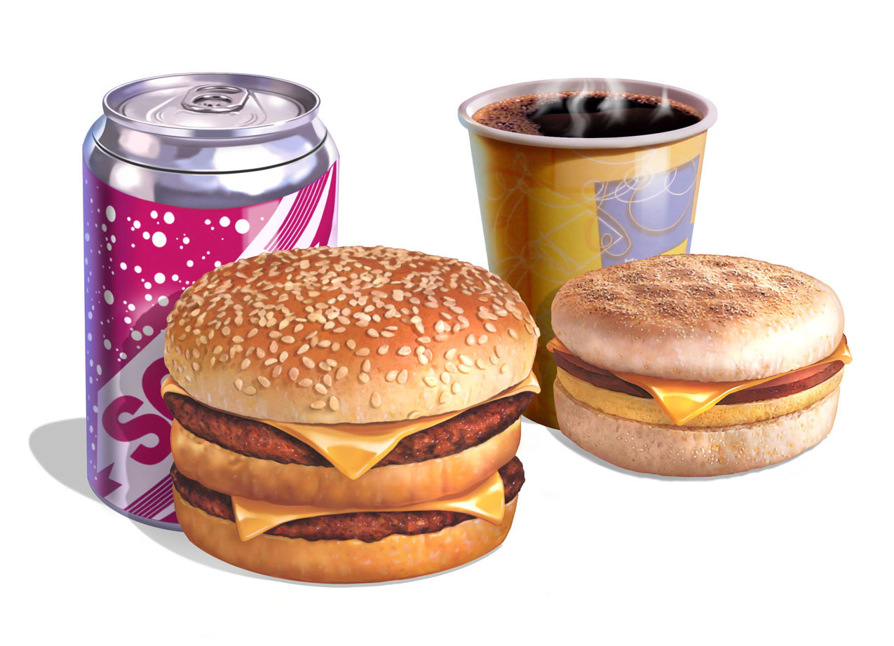 illustration-Food and Packaging_Burger and soda, McMuffin and coffee-Impressa