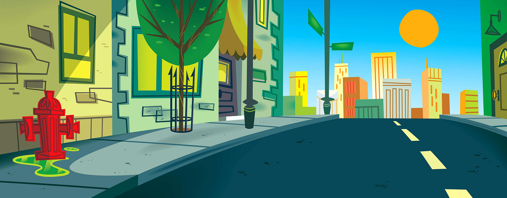 illustration-Landscapes_City neighborhood at dusk-John Hom