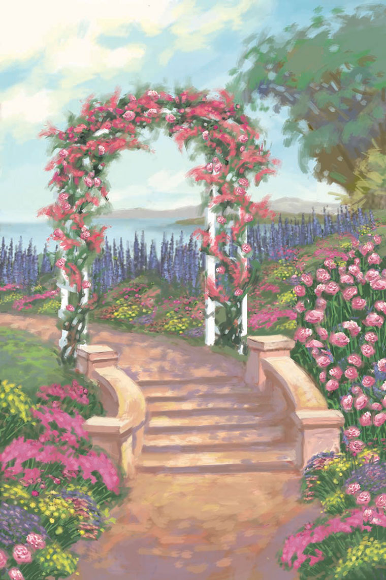 illustration-Landscapes_Flowery garden Arch-Shawn McKelvey