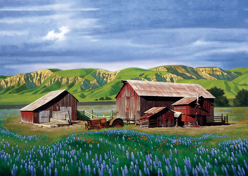 illustration-Landscapes_ Lupine spring-Keith Batcheller