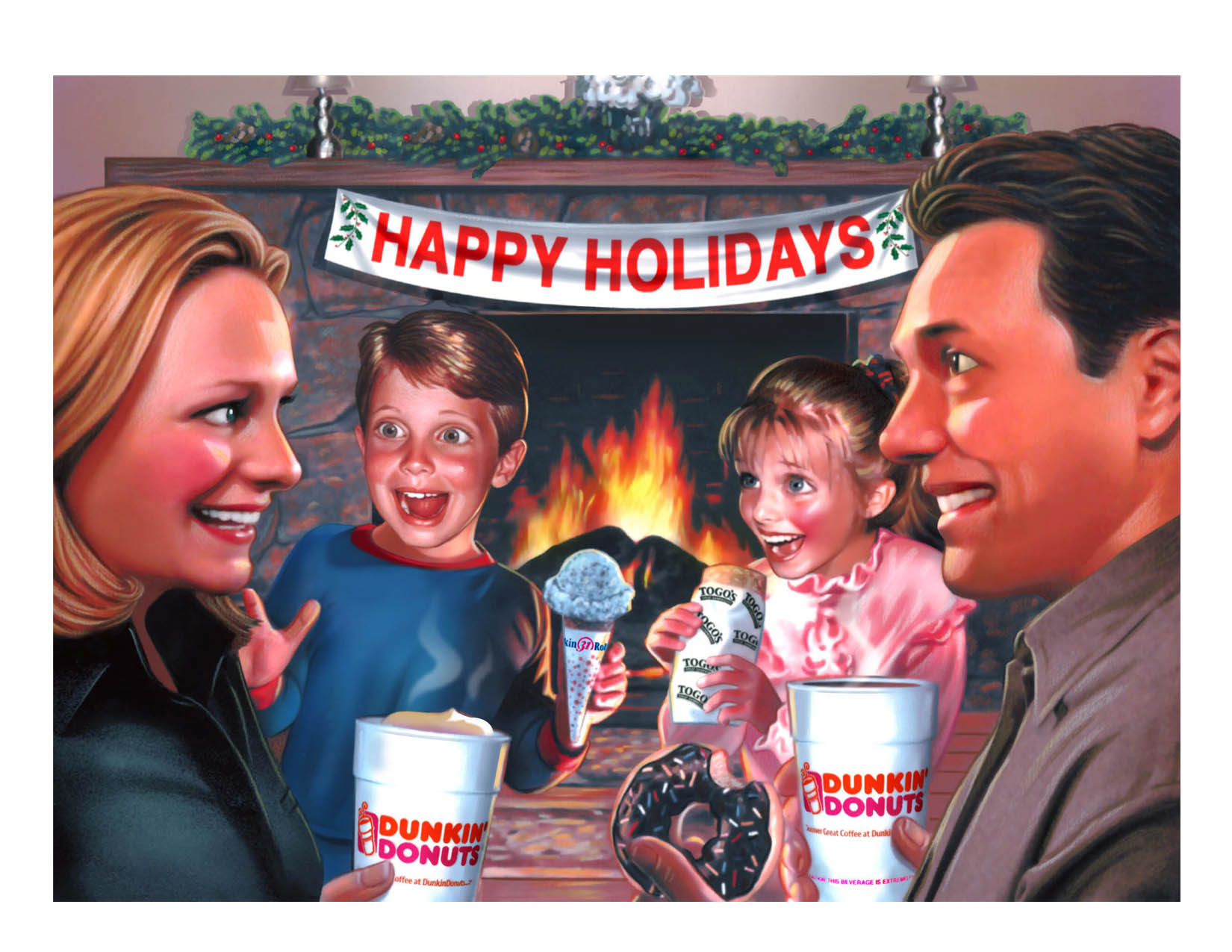 illustration-People_Dunkin Donuts Christmas card-Impressa