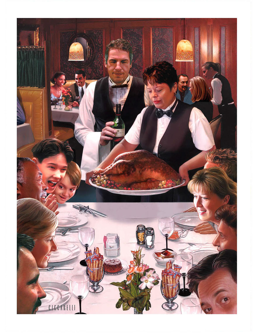 illustration-People_Family thanksgiving dinner at a restaurant-Impressa
