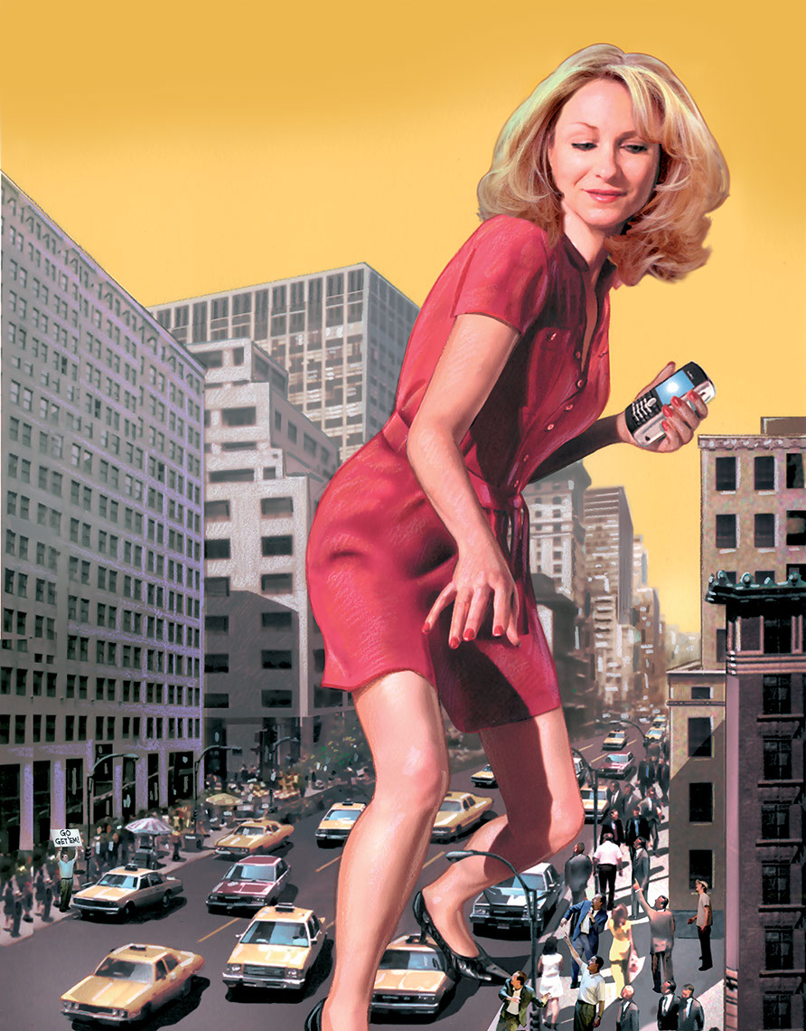 illustration-People_Giant business woman walking around city-Impressa