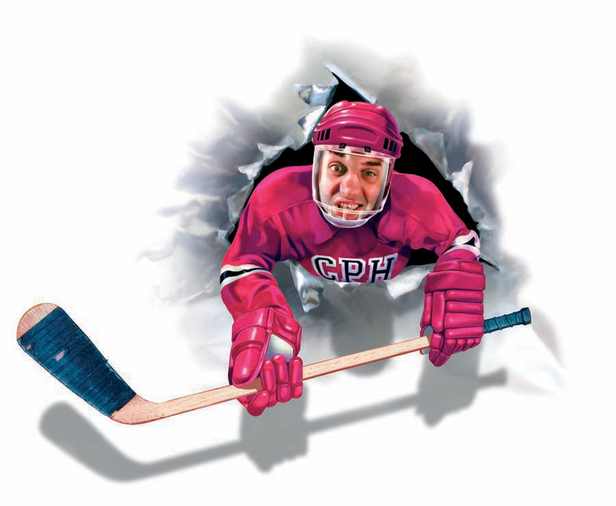 illustration-People_Hockey player crashing through wall-Impressa