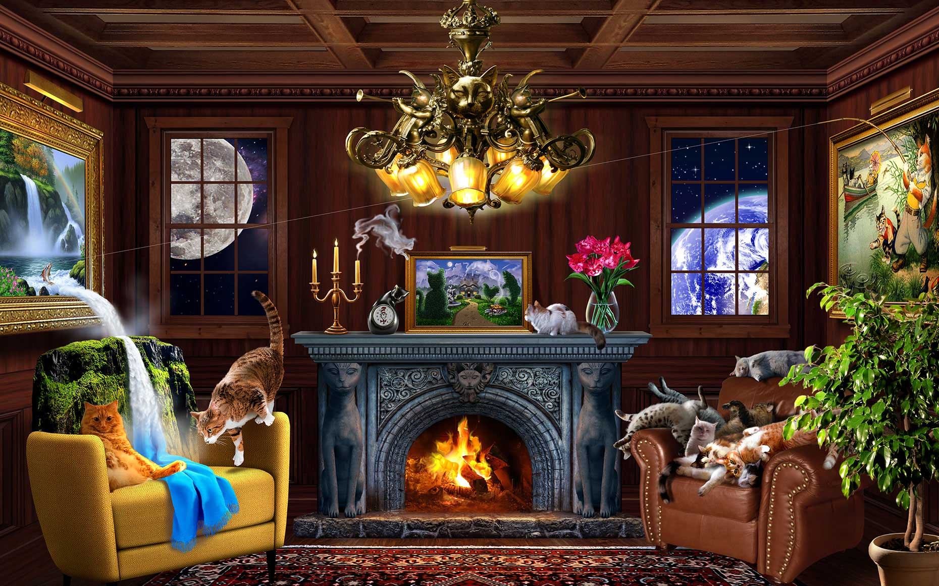 illustration-Photo-Imaging_Animals-and-Nature_Friskies-living-room-Jerry-LoFaro