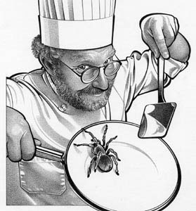illustration-Portraits_Chef serving a tarantula-Randy Glass