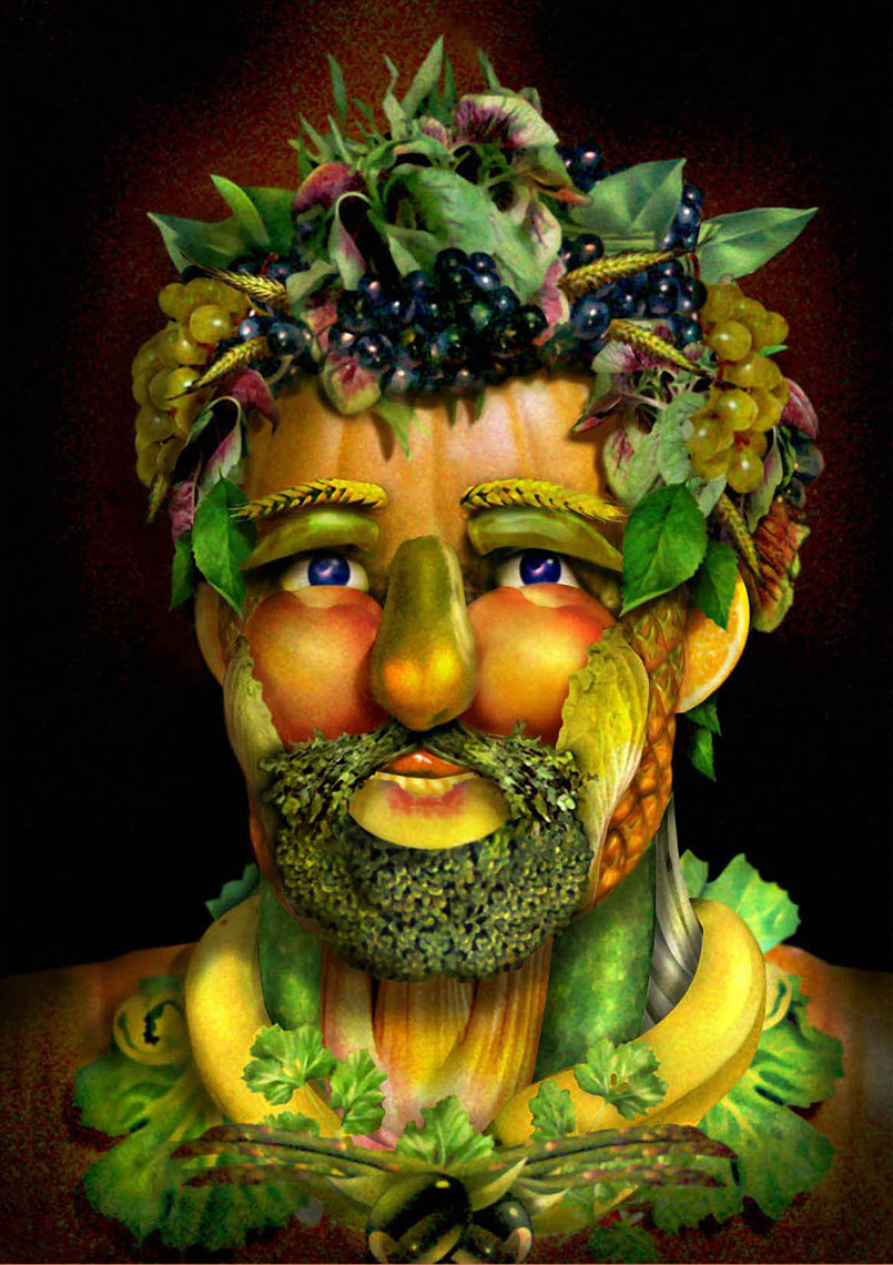 illustration-Portraits_Fruit and veggie Man-Impressa