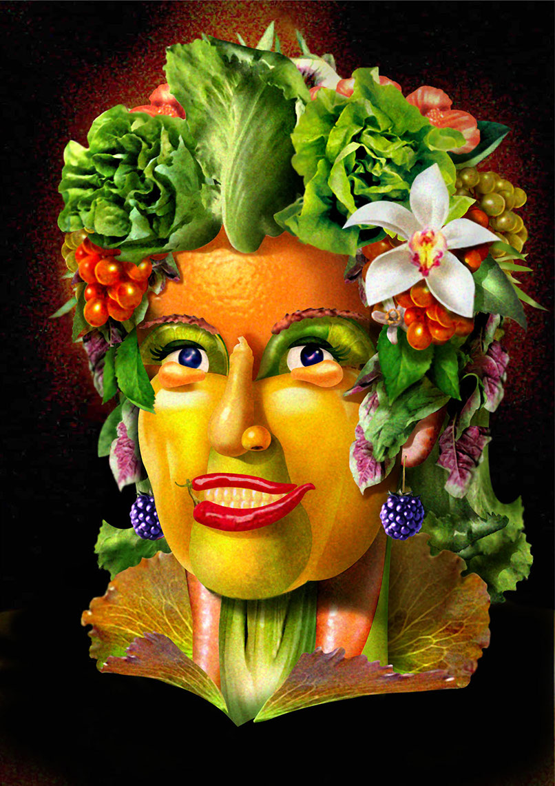 illustration-Portraits_Fruit and veggie Woman-Impressa