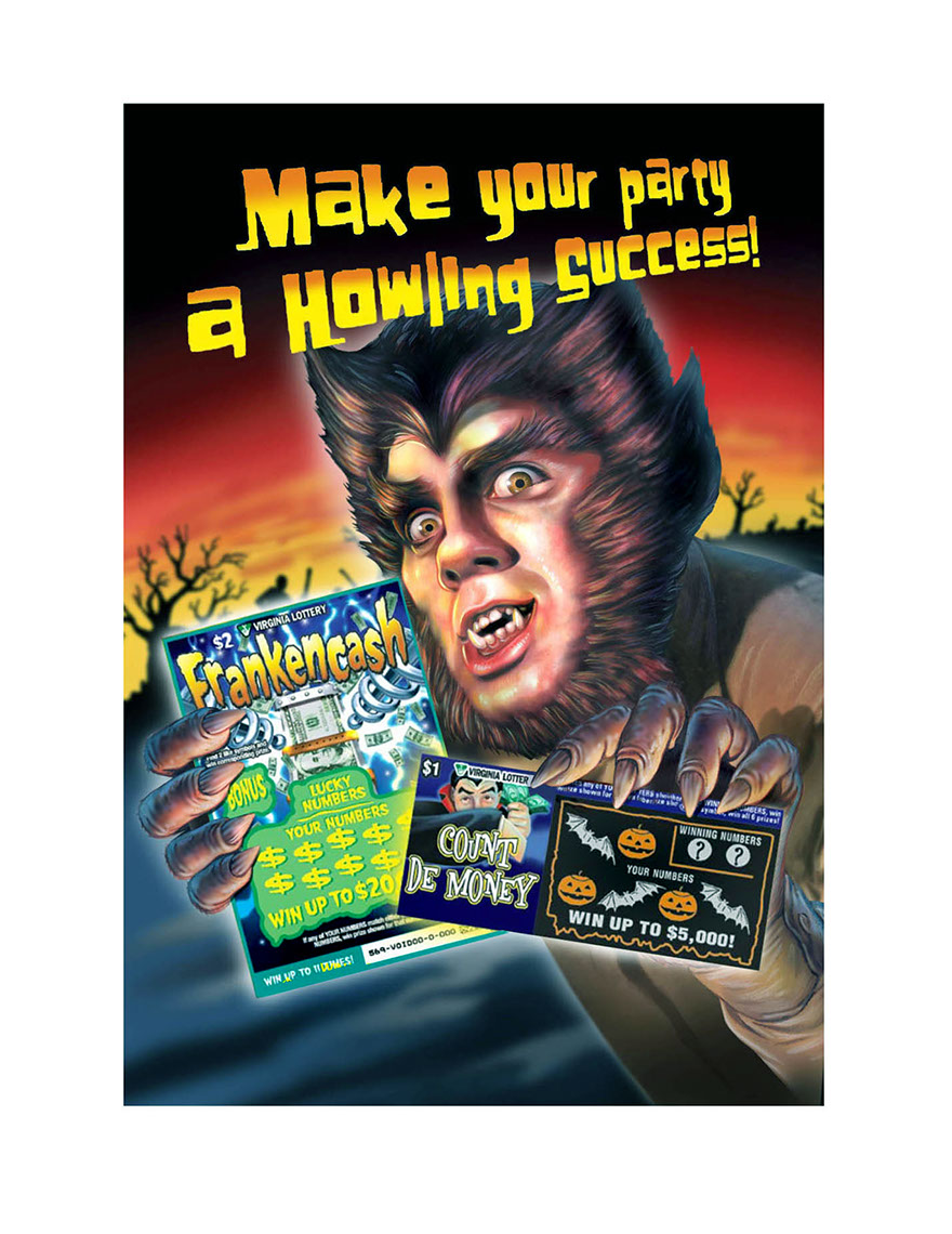 illustration-Products and Still Life_Werewolf with frankencash lotto ticket-Impressa