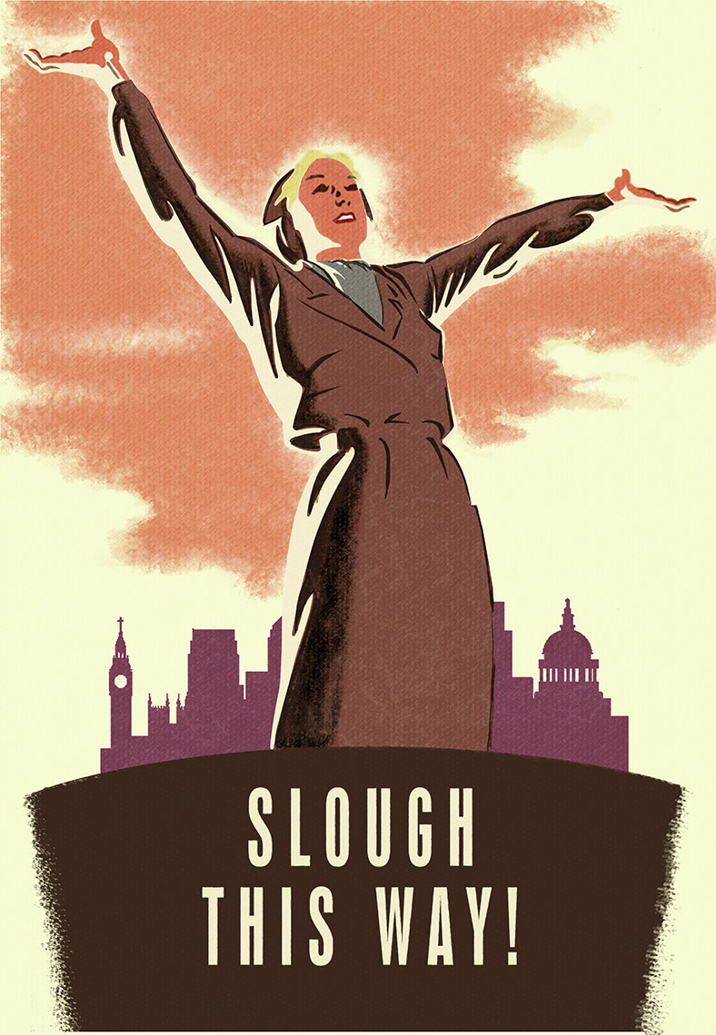illustration-Retro_50s poster slough this way-Pastiche