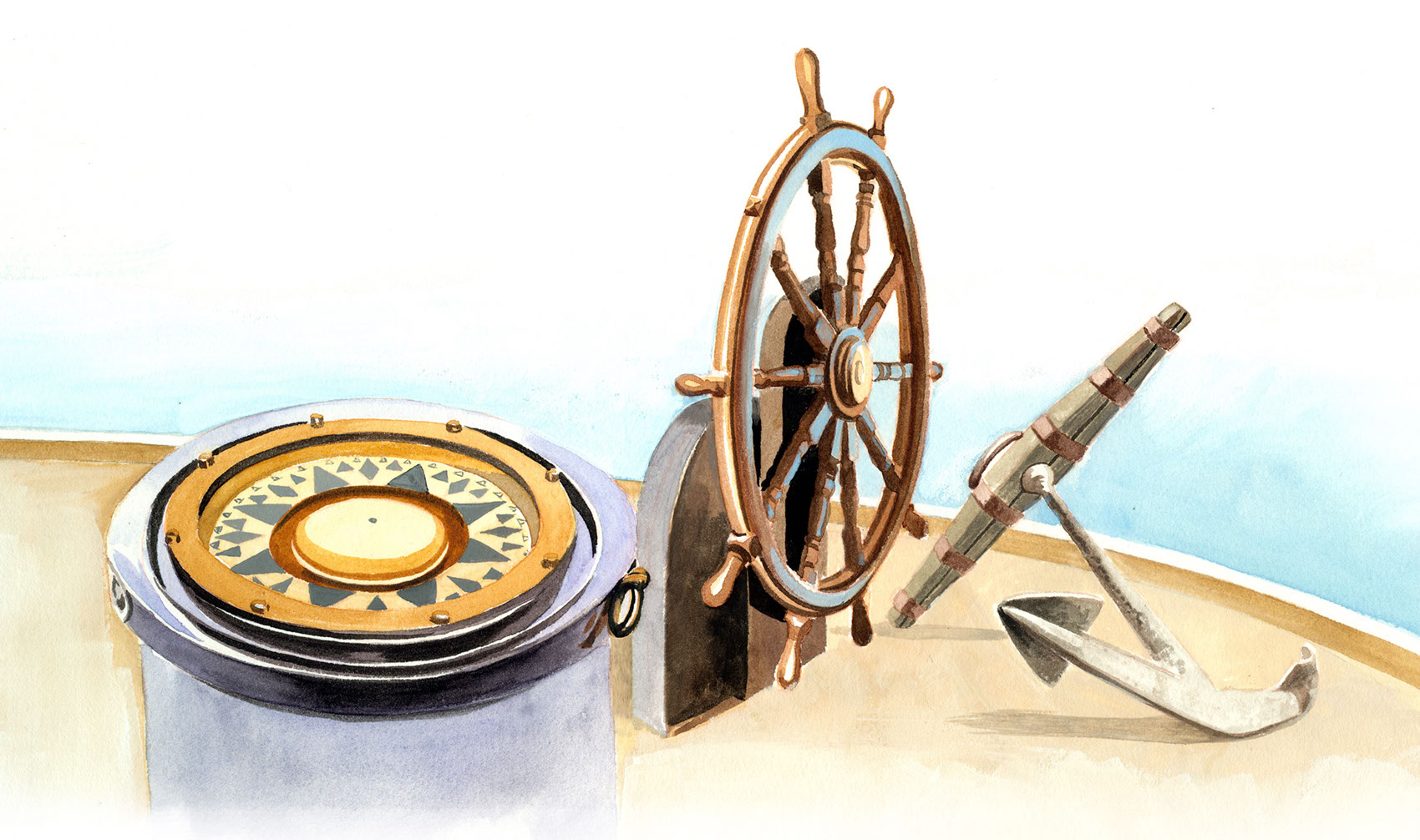illustration-Retro_Admirals compass anchor steering wheel-Pastiche