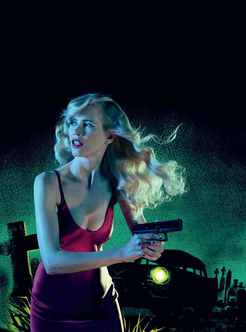 illustration-Retro_Armed woman on the lookout for zombies-Pastiche