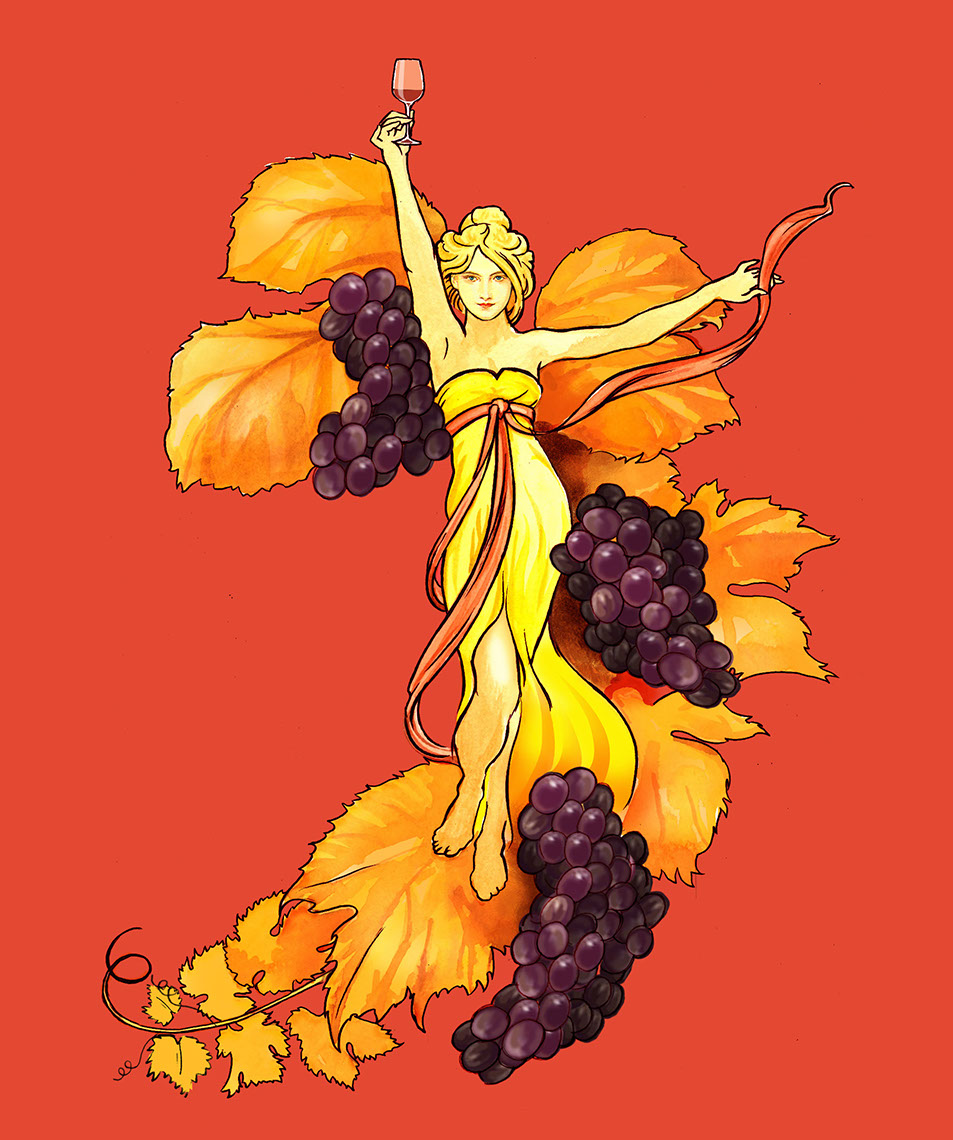 illustration-Retro_Autumn wine harvest goddess-Pastiche