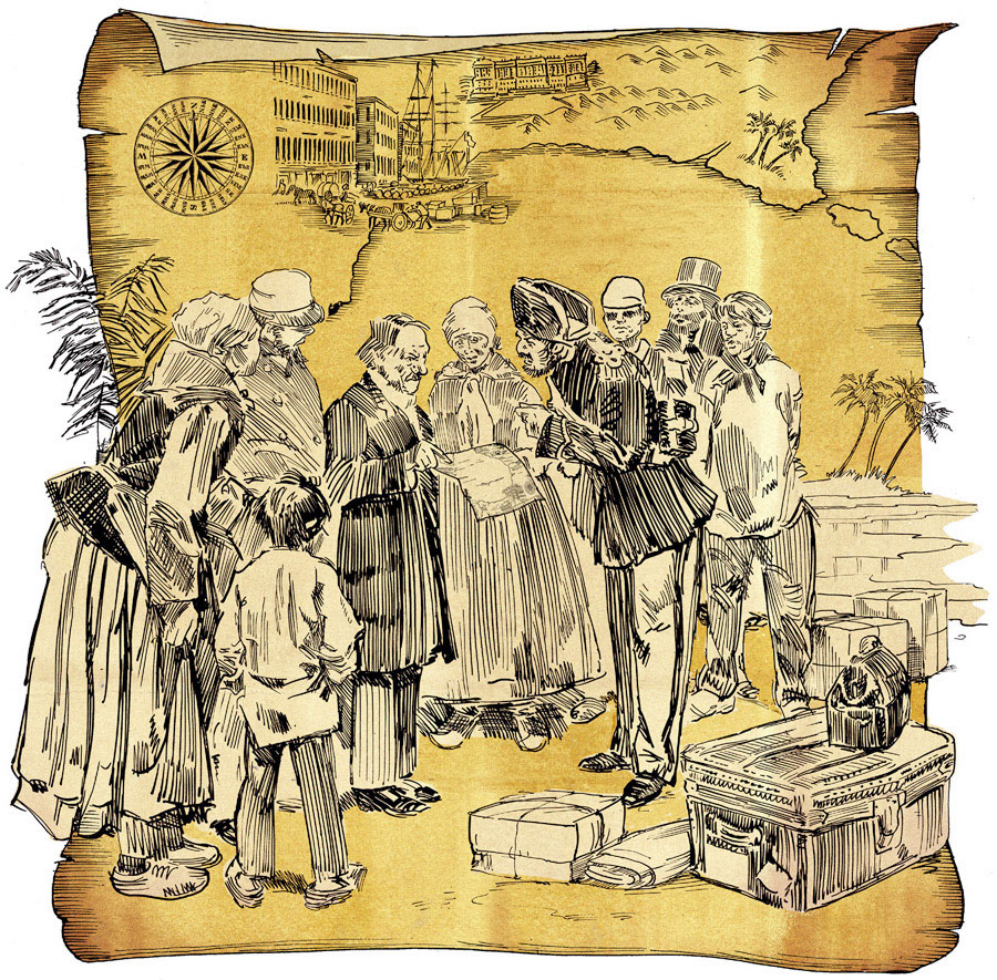 illustration-Retro_Colonists on a map-Pastiche