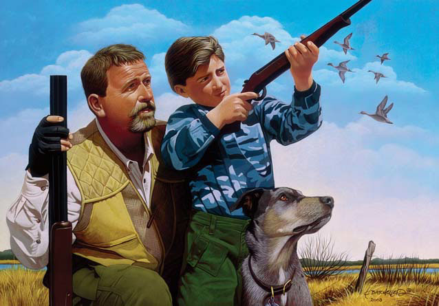 illustration-Retro_Father and son with gun and dog-Keith Batcheller