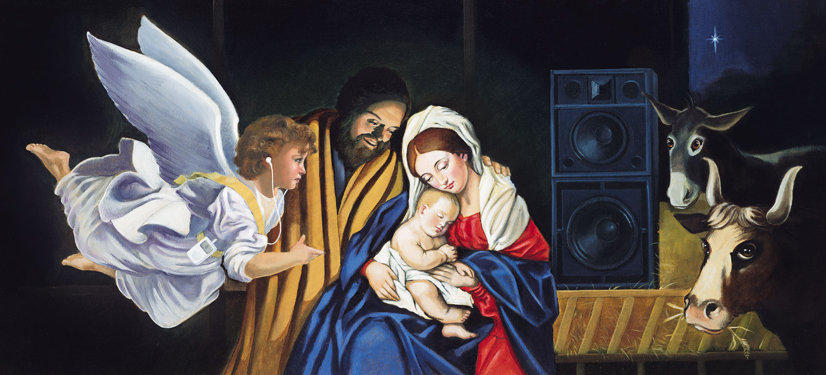 illustration-Retro_Ipods and speakers at the birth of jesus-Pastiche
