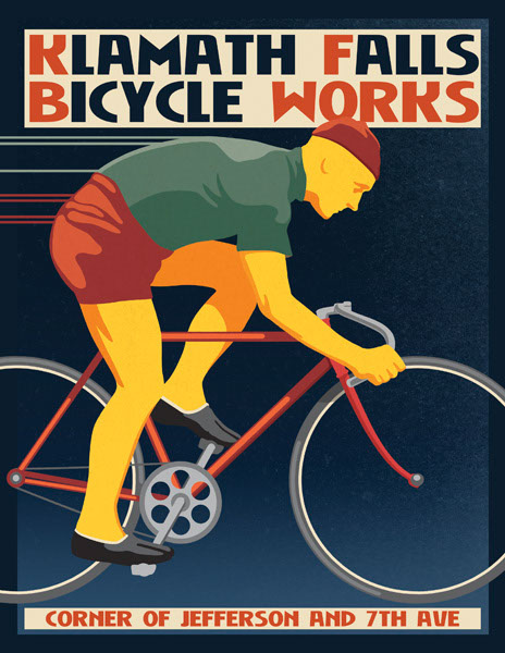 illustration-Retro_Klamath Falls Bike Works-Don Bishop
