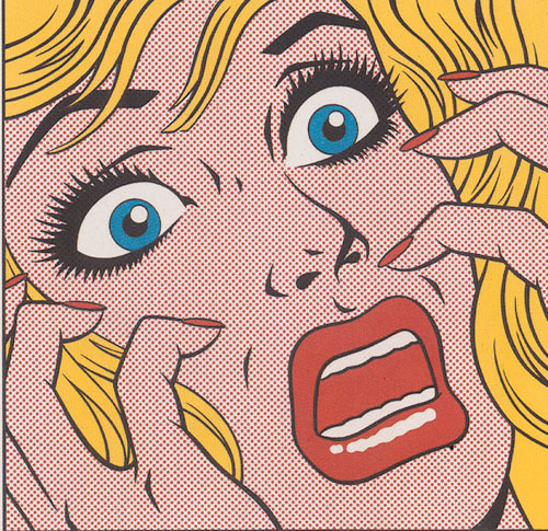illustration-Retro_Lichtenstein style woman in fear-Pastiche