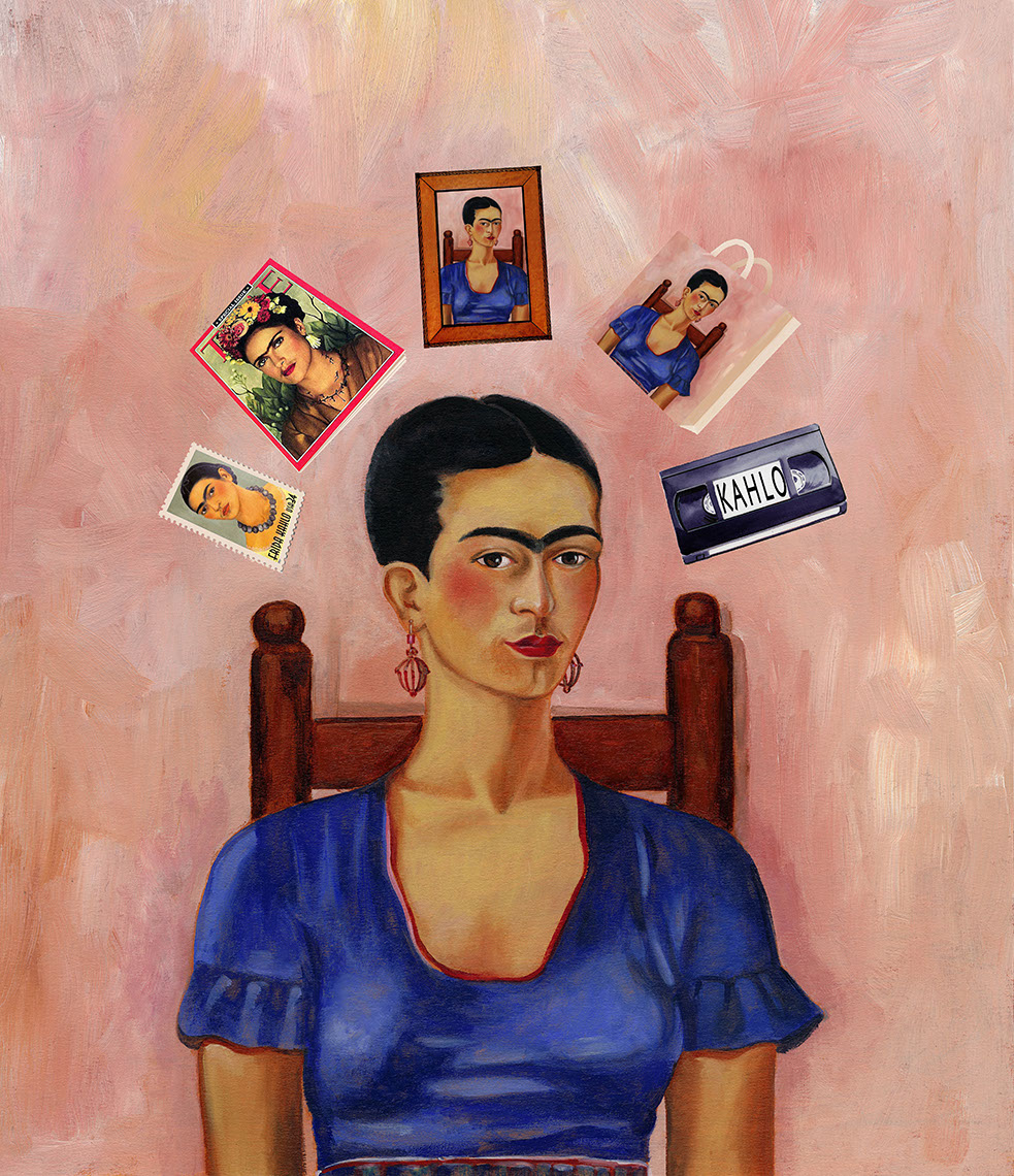 illustration-Retro_Many faces of Frida Kahlo portrait-Pastiche