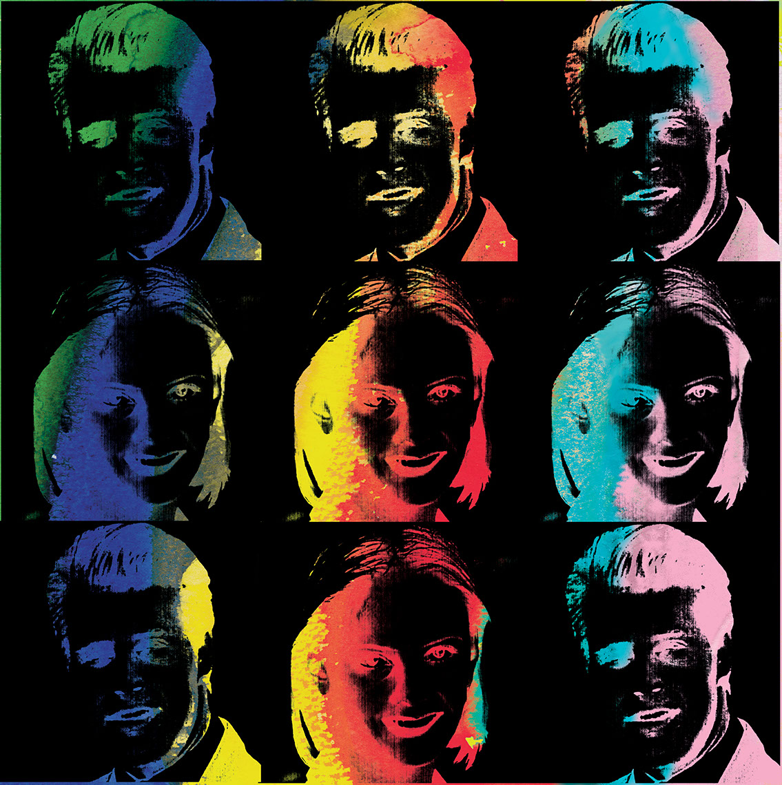 illustration-Retro_Multi-color Warhol style heads-Pastiche