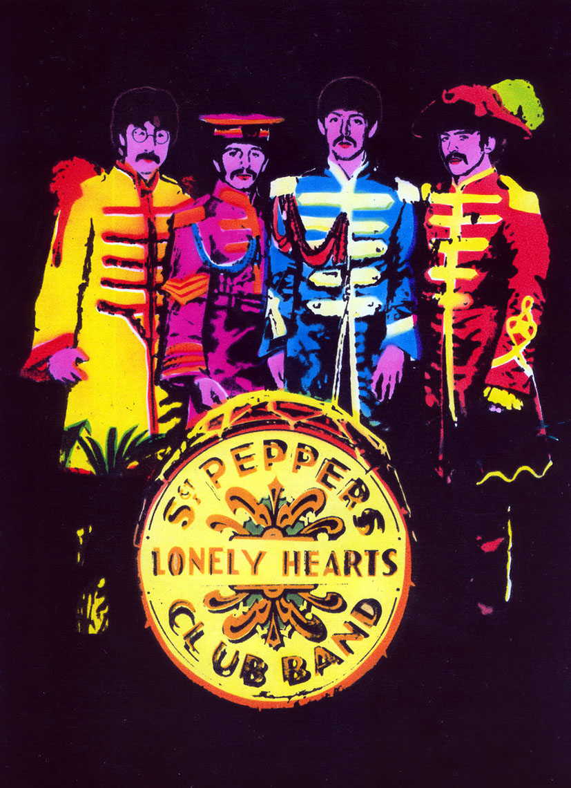illustration-Retro_Neon sgt peppers lonely hearts club band poster-Pastiche
