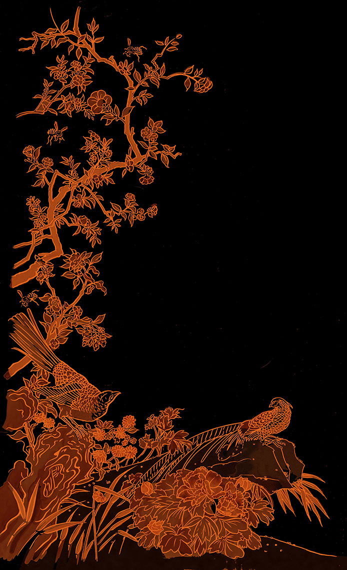 illustration-Retro_Oriental style orange branches with birds-Pastiche