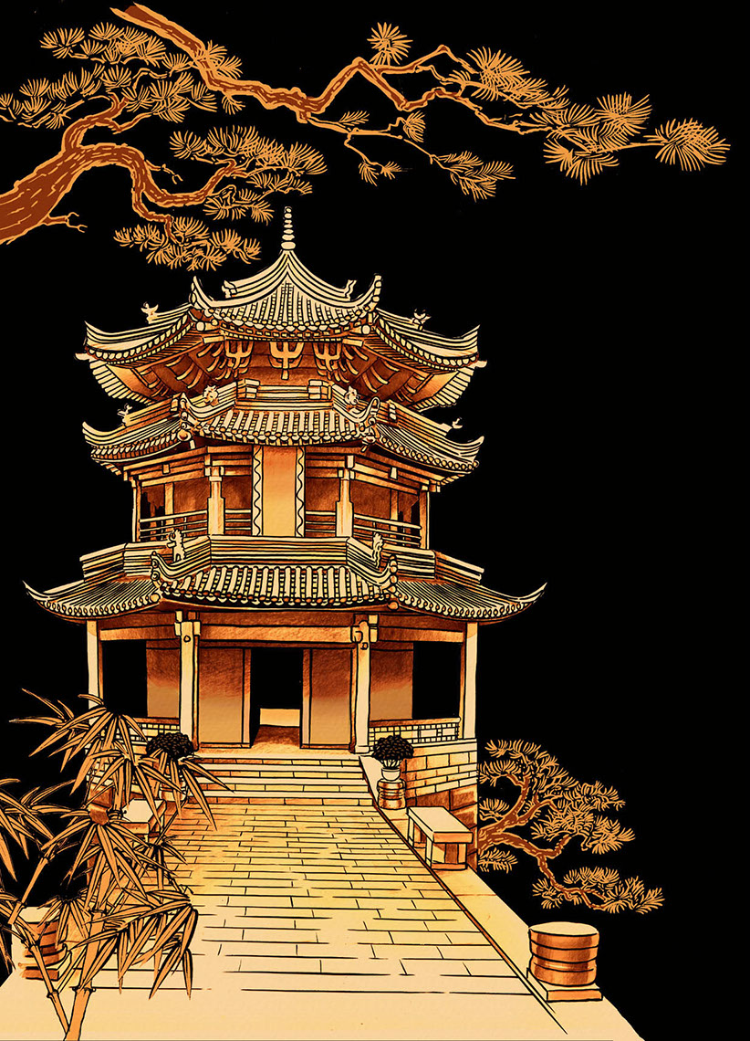 illustration-Retro_Oriental style orange pagoda scene-Pastiche