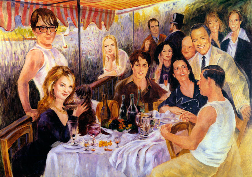 illustration-Retro_Renoir style party with modern celebrities-Pastiche