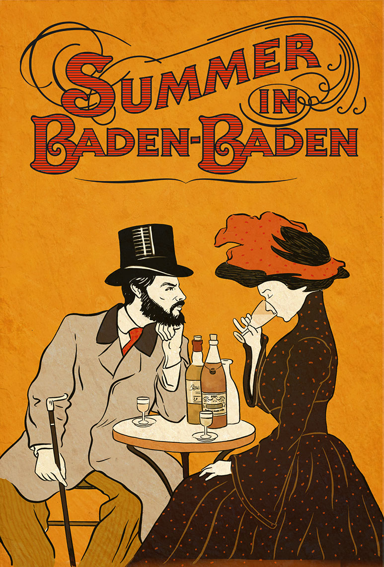 illustration-Retro_Summer in Baden-Baden french style poster-Pastiche