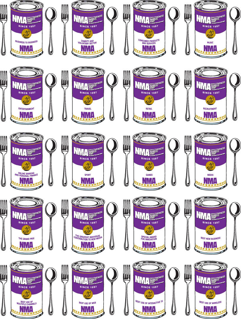 illustration-Retro_Warhol style soup cans NMA effectiveness awards-Pastiche