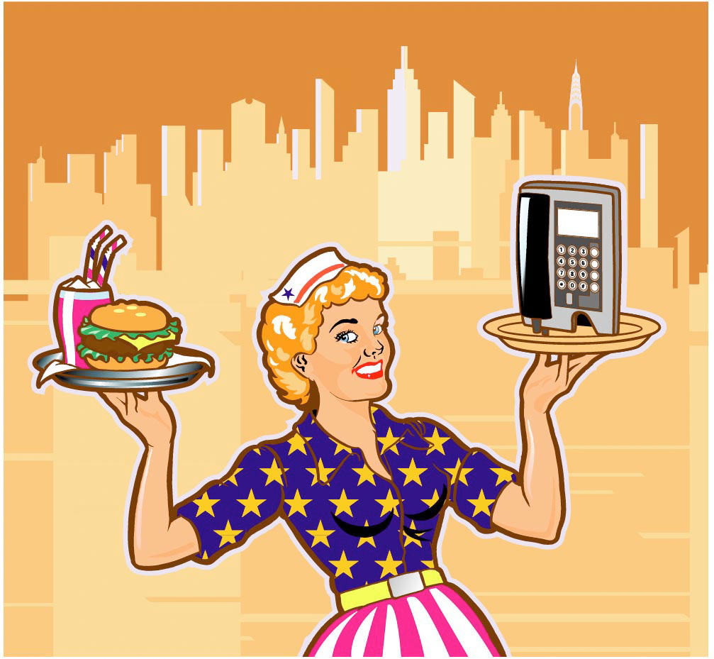 illustration-Retro_waitress-Pastiche
