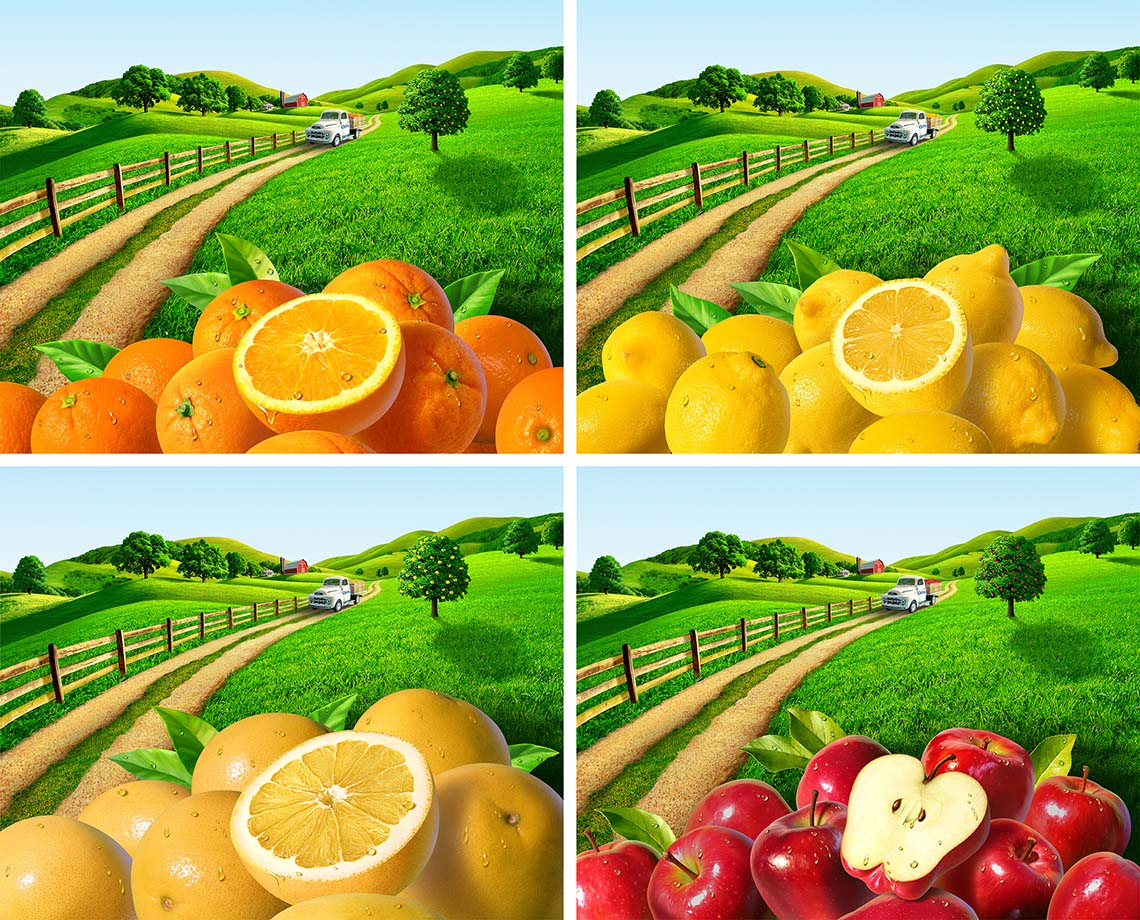 illustration-Sliced oranges lemons grapefruits and apples on rolling farm landscape-Jerry LoFaro